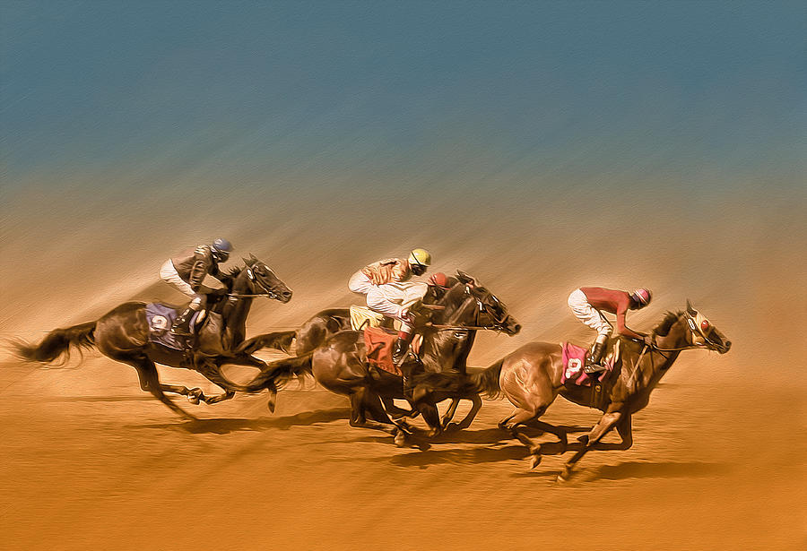 Horses Racing To The Finish Line Photograph