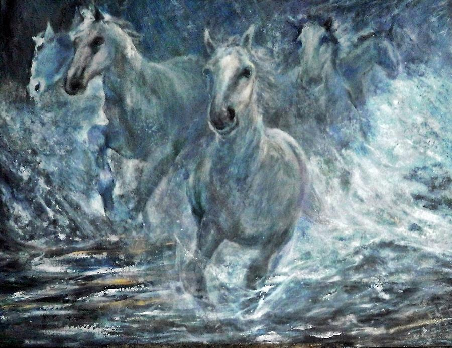 Paint Horses Running In Water