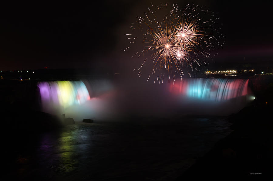 Horseshoe Falls With Fireworks Photograph