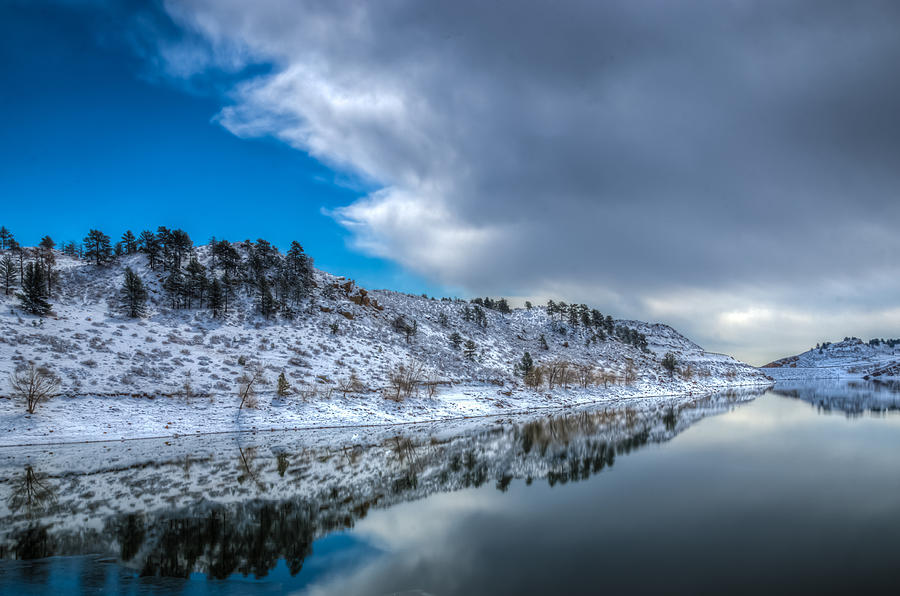 Horsetooth Reservoir Reflection Photograph  - Horsetooth Reservoir Reflection Fine Art Print