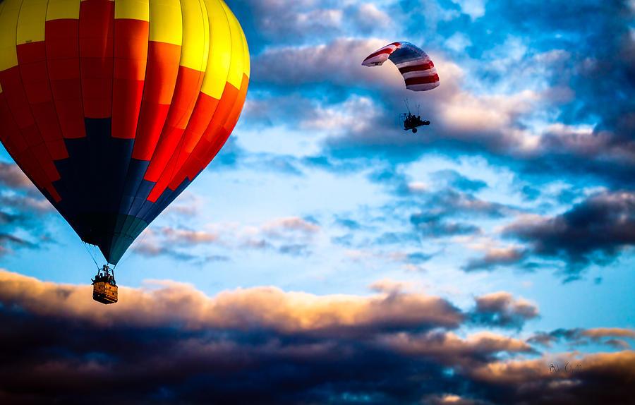 Hot Air Balloon And Powered Parachute Photograph