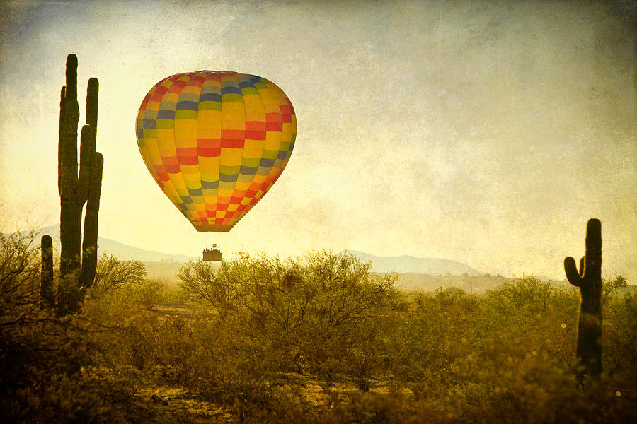 Hot Air Balloon Flight Over The Southwest Desert Fine Art Print  Photograph