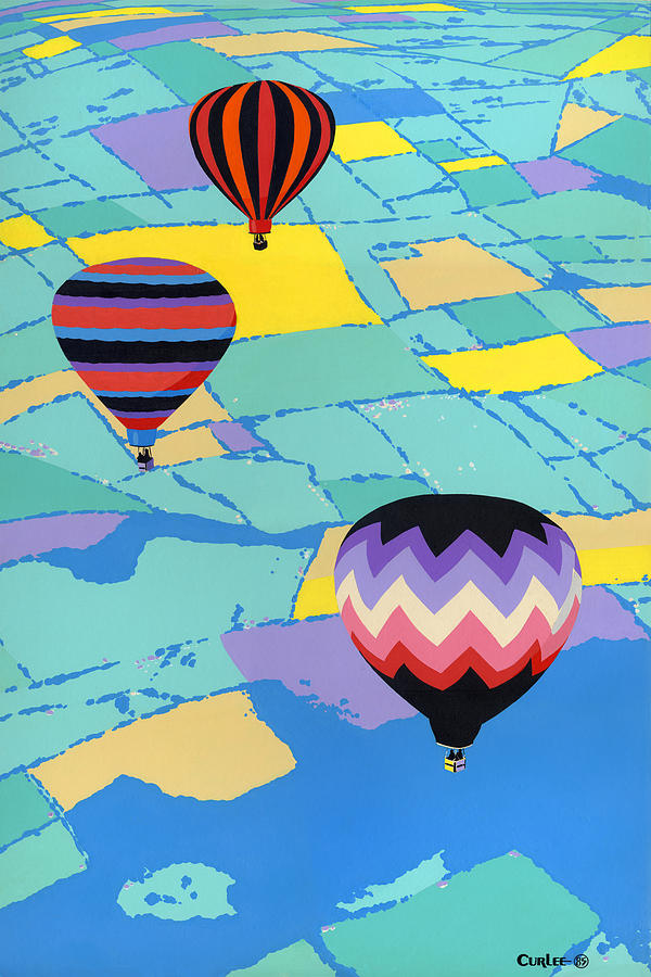 Hot Air Balloons Ballooning Orignal Pop Art Nouveau Landscape  80s 1980s Decorative Stylized Painting  - Hot Air Balloons Ballooning Orignal Pop Art Nouveau Landscape  80s 1980s Decorative Stylized Fine Art Print