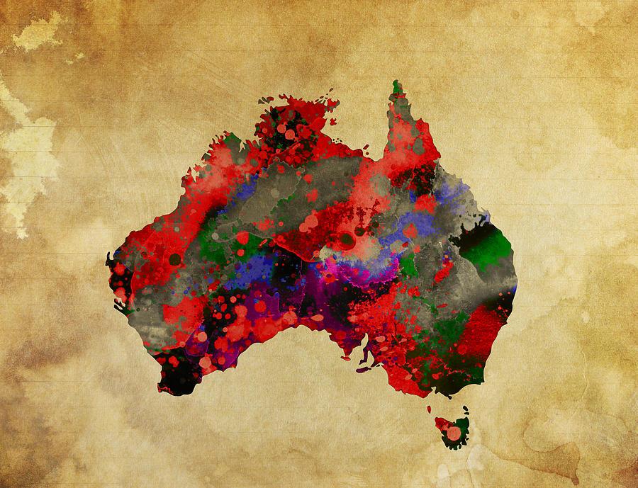 Hot Australia Map Digital Art