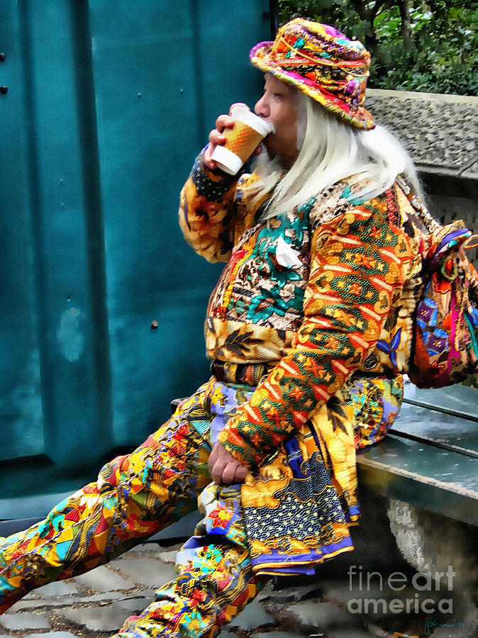 Man On Bench Photograph - Hot Coffee And Haute Couture by Jeff Breiman
