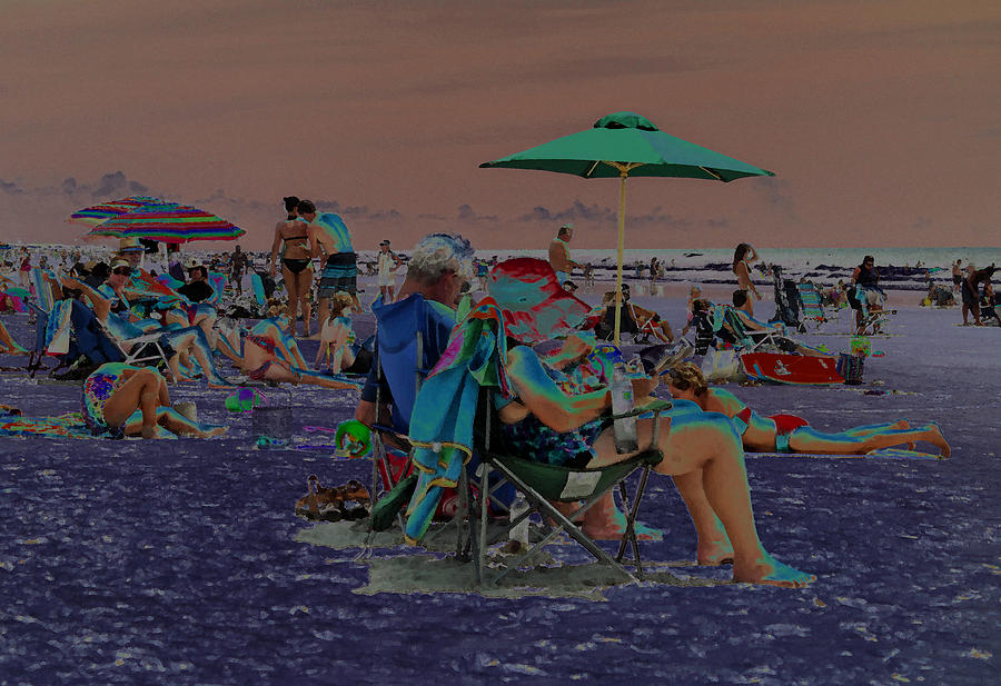 Hot Day At The Beach - Solarized Photograph  - Hot Day At The Beach - Solarized Fine Art Print