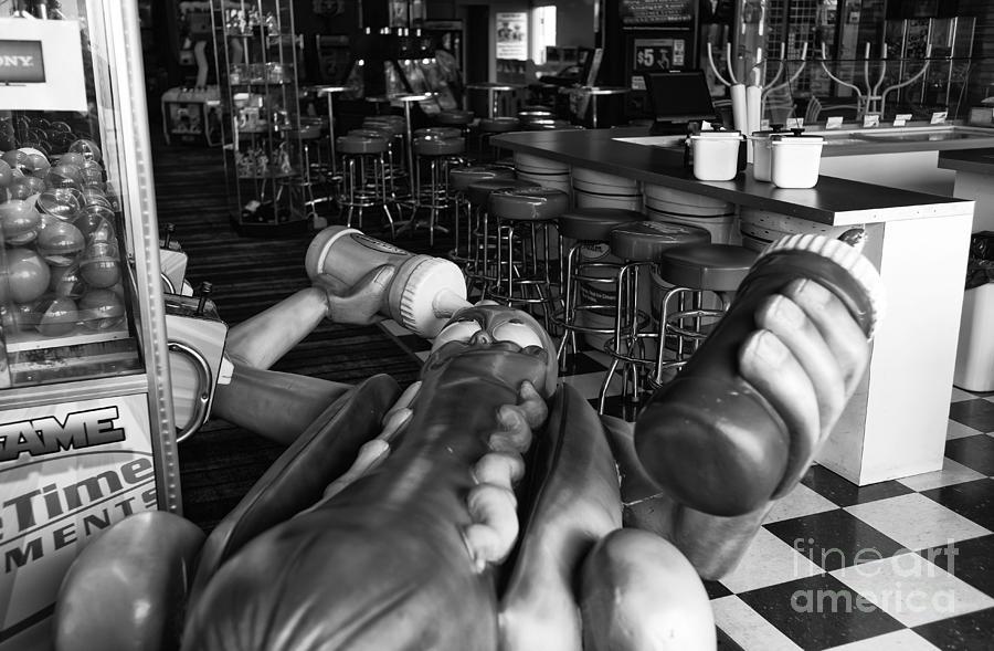 Hot Dog Man Down Photograph - Hot Dog Man Down Mono by John Rizzuto