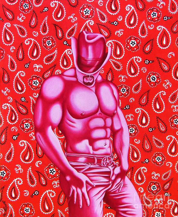 Homoerotic  Painting - Hot Pink Cowboy by Joseph Sonday