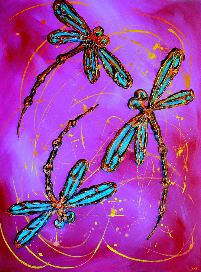 Hot Pink Dragonfly Flit Painting  - Hot Pink Dragonfly Flit Fine Art Print