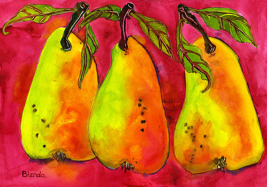 Hot Pink Three Pears Painting  - Hot Pink Three Pears Fine Art Print