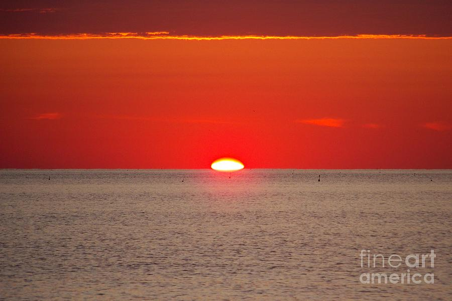 Hot Sun Seems To Melt Into The Sea Photograph  - Hot Sun Seems To Melt Into The Sea Fine Art Print