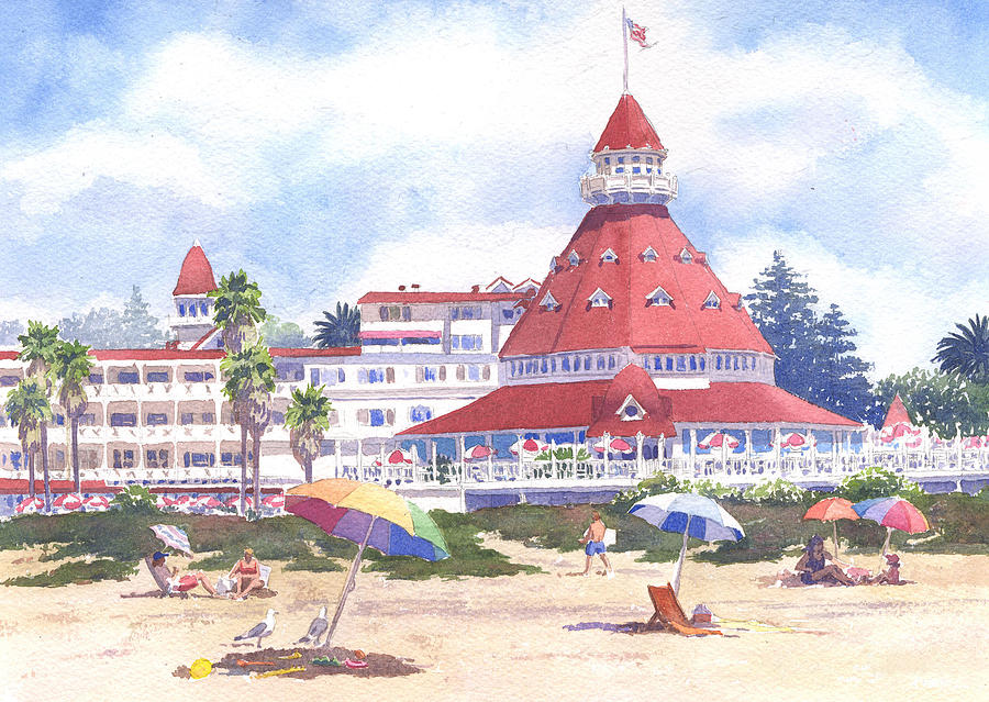 Pacific Painting - Hotel Del Coronado Beach by Mary Helmreich