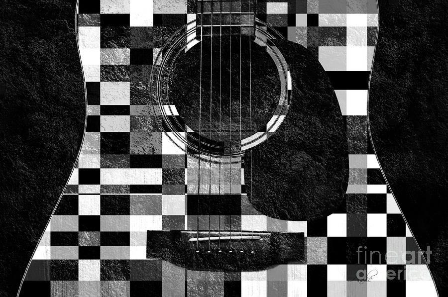 Hour Glass Guitar Random Bw Squares Photograph