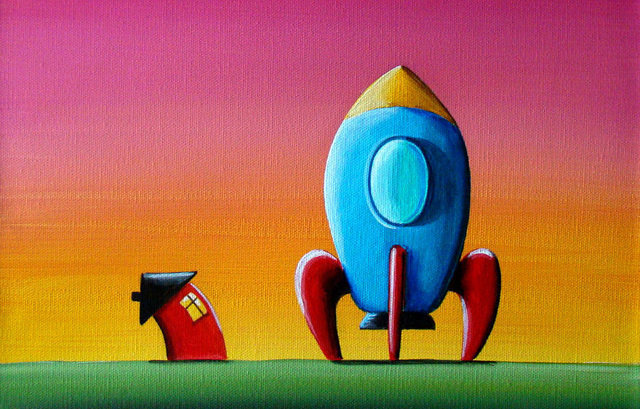 House Builds A Rocketship Painting  - House Builds A Rocketship Fine Art Print