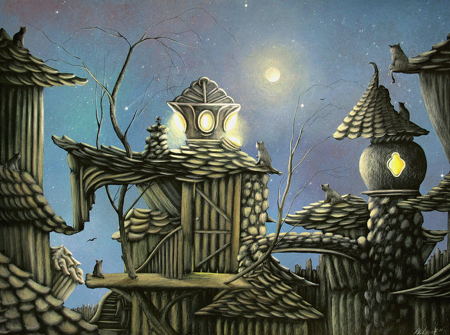 House Cats. Fantasy Cottage Fairytale Art By Philippe Fernandez  Painting  - House Cats. Fantasy Cottage Fairytale Art By Philippe Fernandez  Fine Art Print