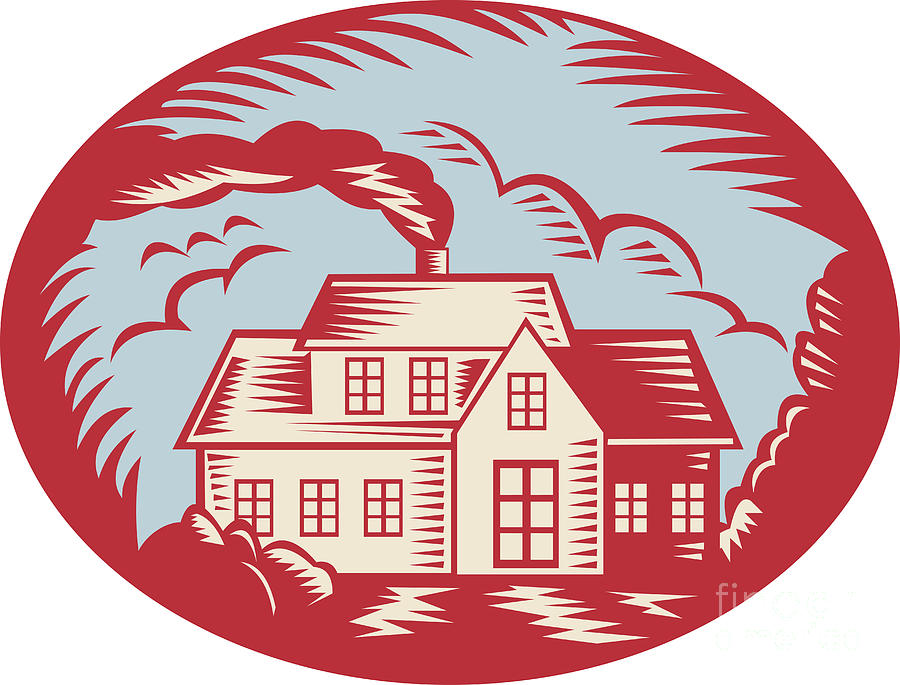 House Homestead Cottage Woodcut Digital Art  - House Homestead Cottage Woodcut Fine Art Print
