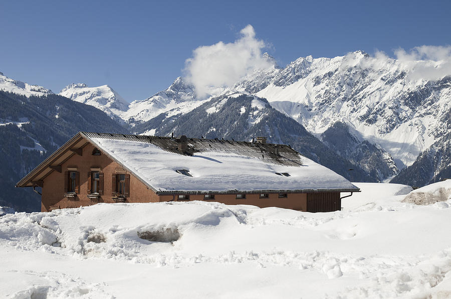 House In The Alps In Winter Photograph  - House In The Alps In Winter Fine Art Print
