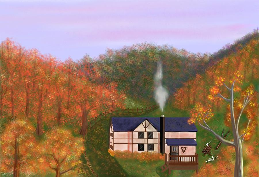 House In The Hills  Mixed Media  - House In The Hills  Fine Art Print