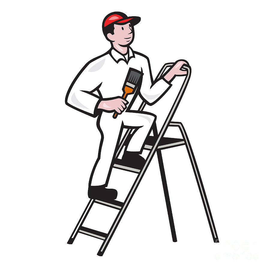 House Painter Standing On Ladder Cartoon Digital Art