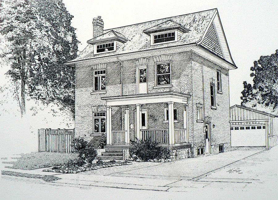 House Portrait In Ink 1 Drawing