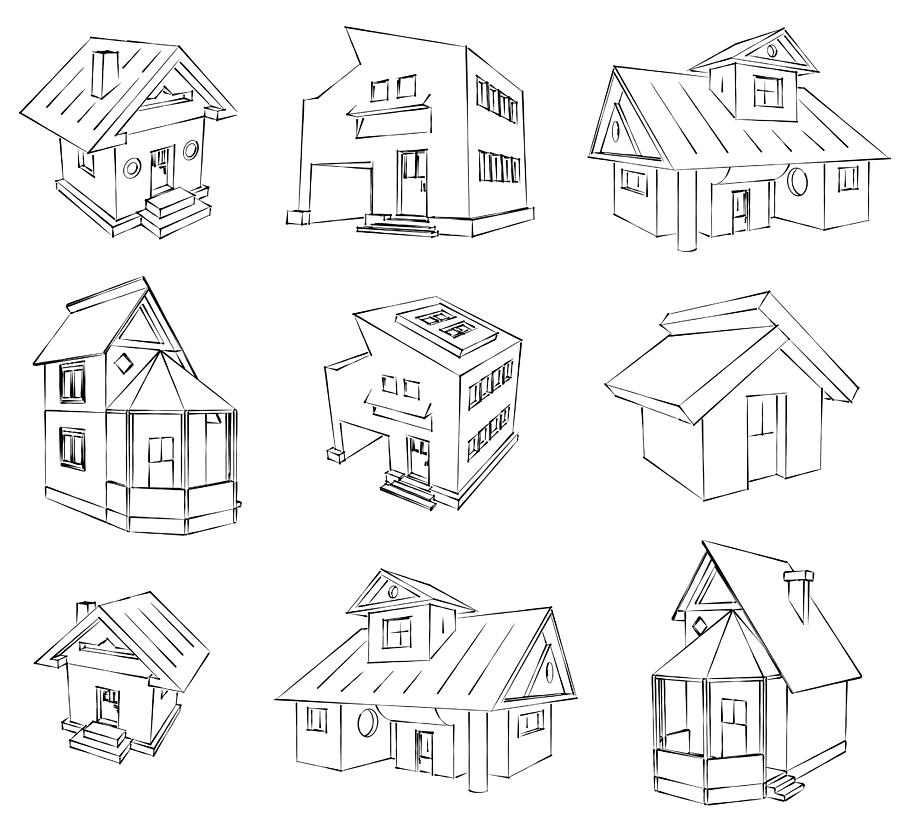 House Drawing - House Sketch Set by Ioan Panaite