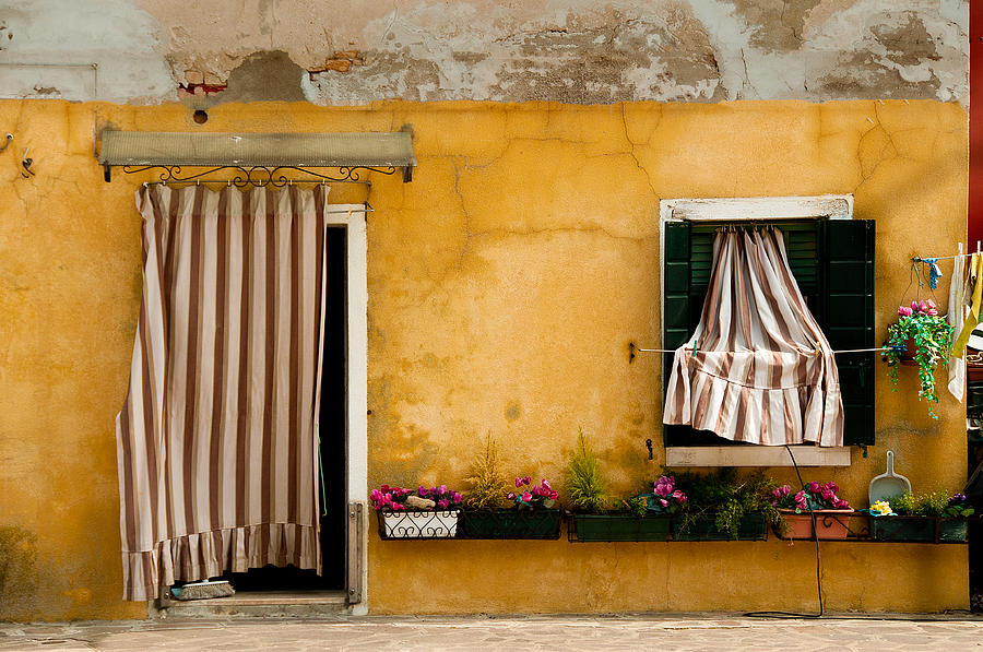 House With Drapes Burano Italy Photograph