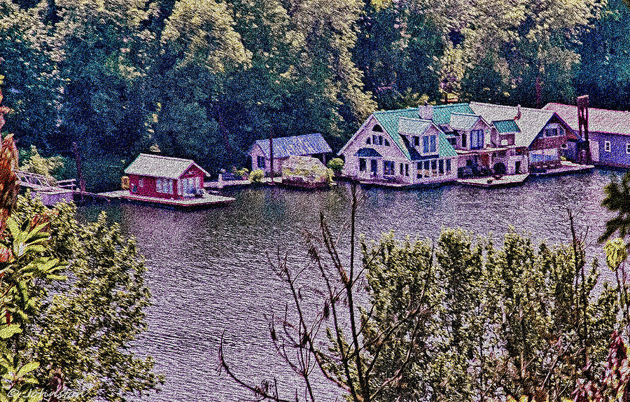 Houseboats On The Columbia River Oregon Digital Art