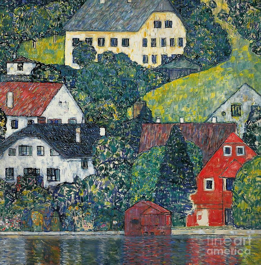 Houses At Unterach On The Attersee Painting