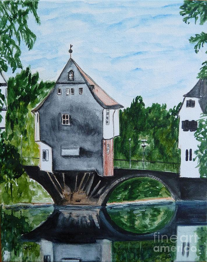 Houses on a bridge in bad kreuznach in germany painting by for Big houses in germany