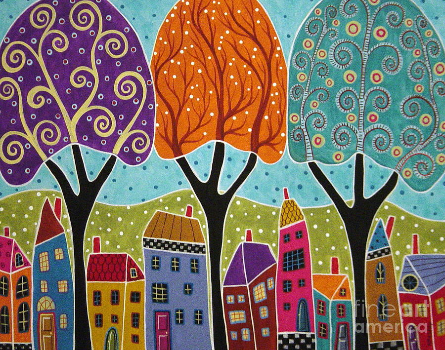 Houses Trees Folk Art Abstract  Painting