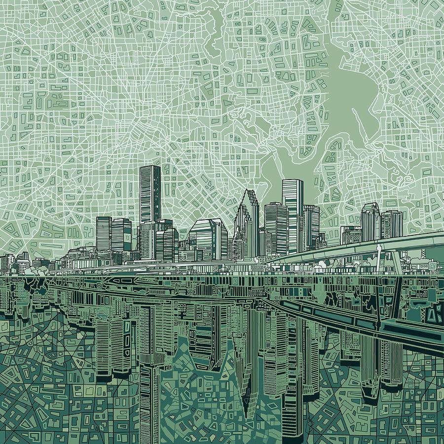Houston Skyline Abstract 2 Painting