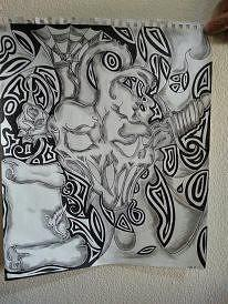 Skullsheartsscrollsdaggers Drawing - How Many Faces Do You See by Kristin Smith