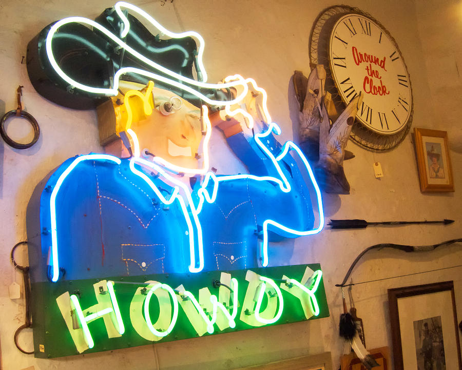 Howdy From The Neon Cowboy Photograph  - Howdy From The Neon Cowboy Fine Art Print