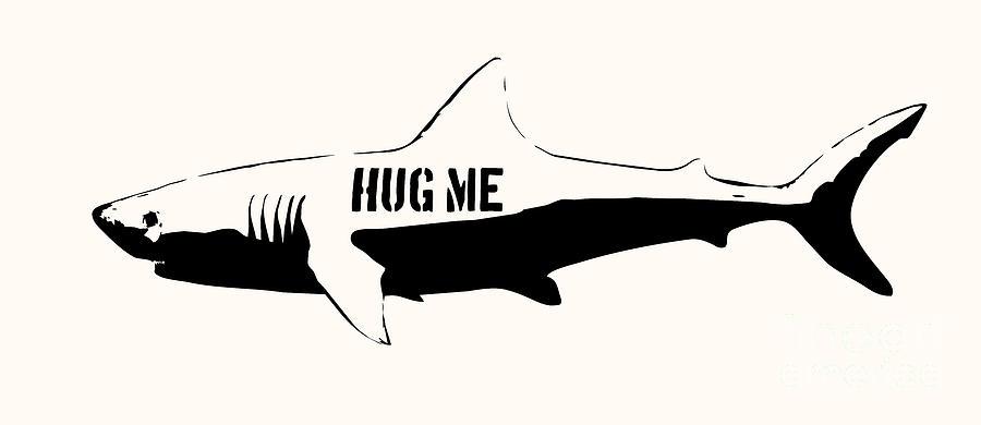 Hug Me Shark - Black  Digital Art