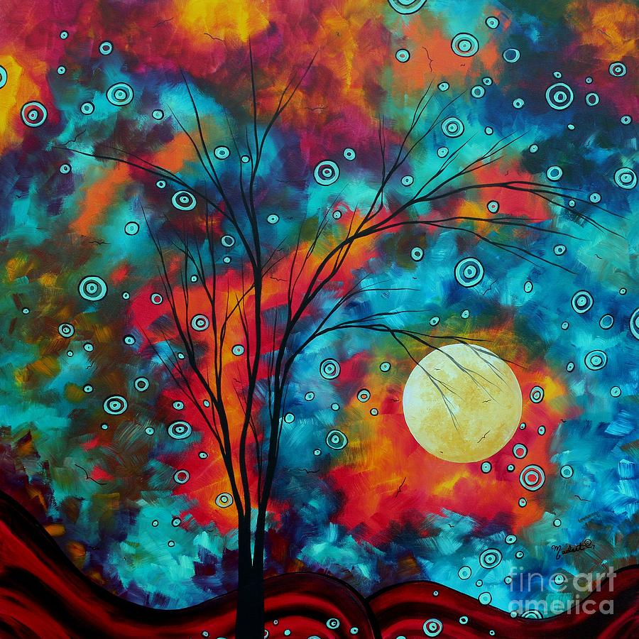 Huge Colorful Abstract Landscape Art Circles Tree Original Painting Delightful By Madart Painting  - Huge Colorful Abstract Landscape Art Circles Tree Original Painting Delightful By Madart Fine Art Print