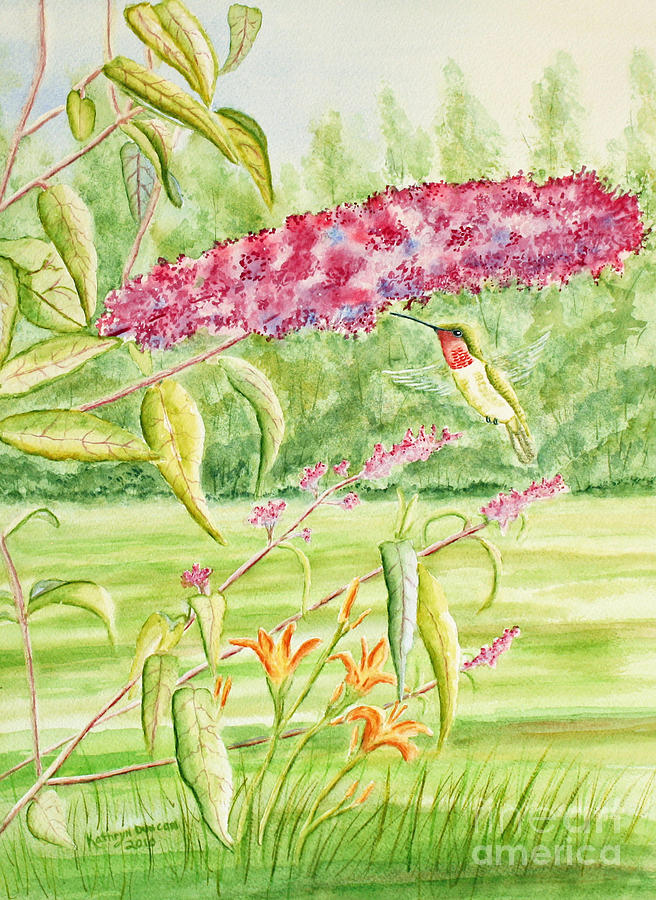 Hummer At Butterfly Bush Painting