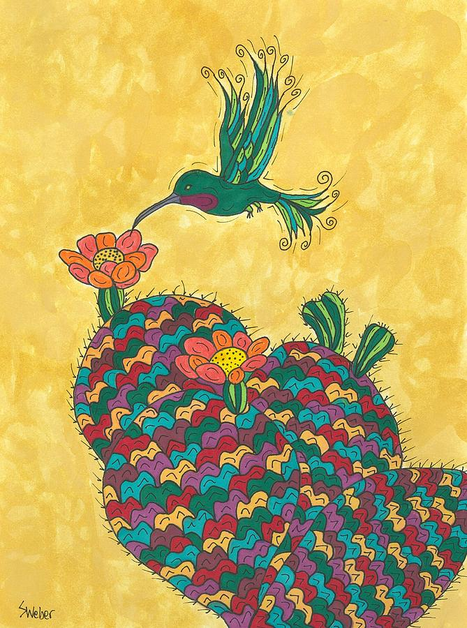 Hummingbird And Prickly Pear Painting