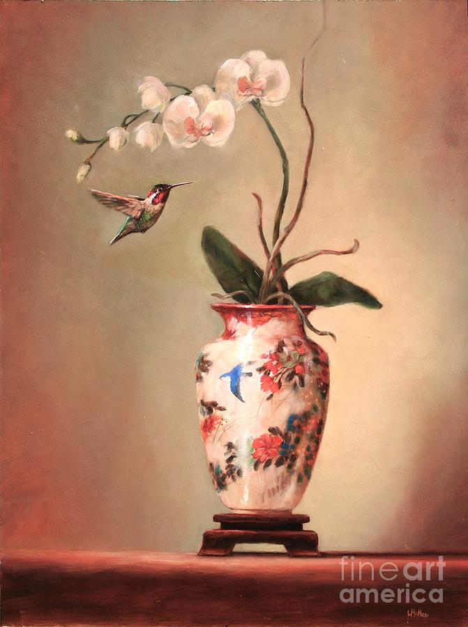 Hummingbird And White Orchid Painting  - Hummingbird And White Orchid Fine Art Print