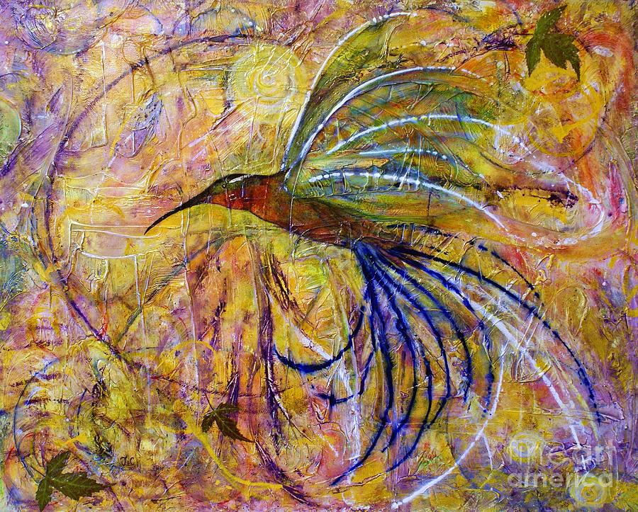 Bird Painting - Hummingbird Dont Fly Away by Jane Chesnut