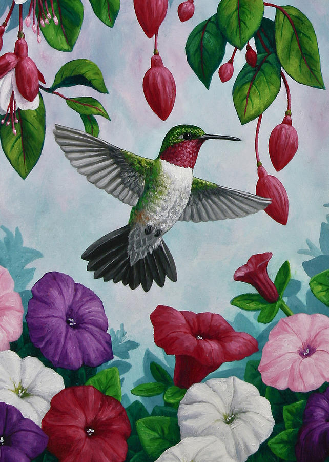 Hummingbird Greeting Card 2 Painting by Crista Forest