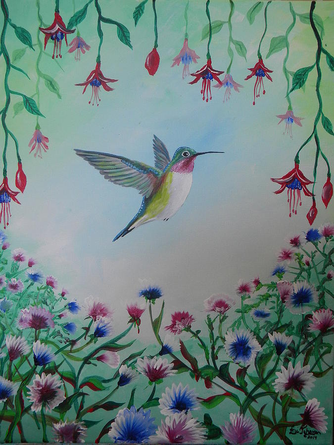Hummingbird In Flower Garden Painting by Eric Johansen