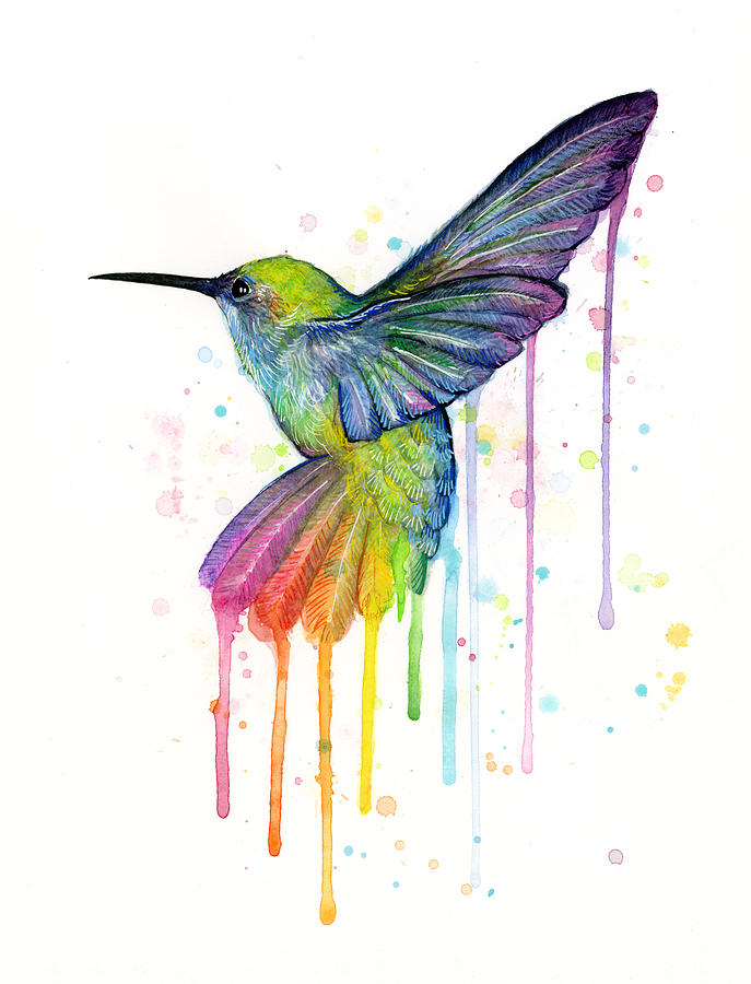 Hummingbird Of Watercolor Rainbow Painting