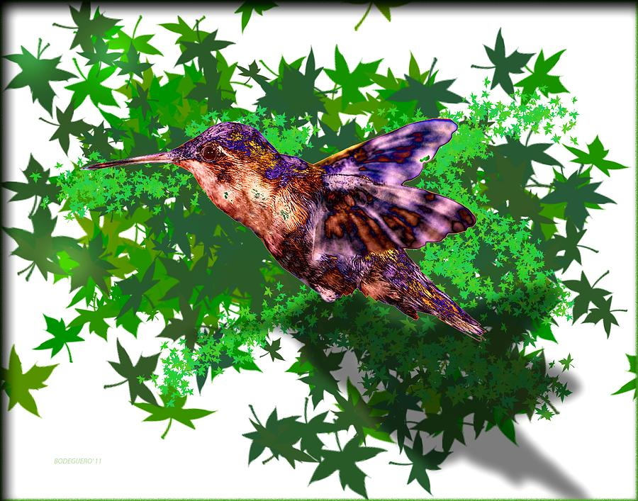 Hummingbird Over Green Digital Art