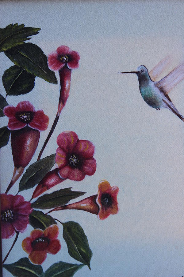 Hummingbird With Flowers Painting by Christine McMillan