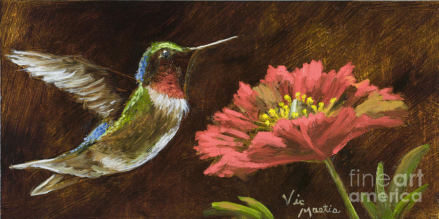 Hummingbird With Gold Leaf By Vic Mastis Painting  - Hummingbird With Gold Leaf By Vic Mastis Fine Art Print