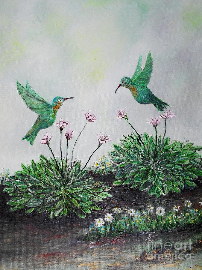 Hummingbirds And Hostas Painting