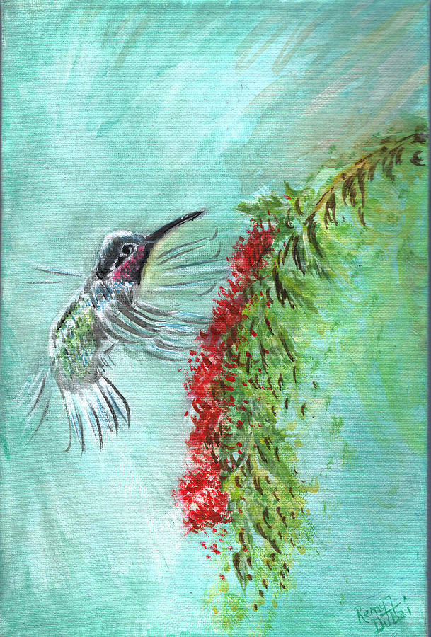 Hummuingbird Birds Of A Feather Series1 Painting  - Hummuingbird Birds Of A Feather Series1 Fine Art Print