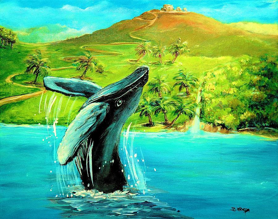 Humpback Whale Breaching At Haleakala Hawaii Painting