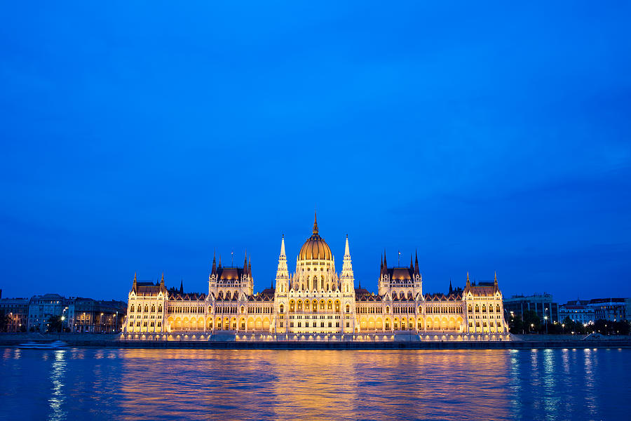 Hungarian Parliament Building At Dusk Photograph
