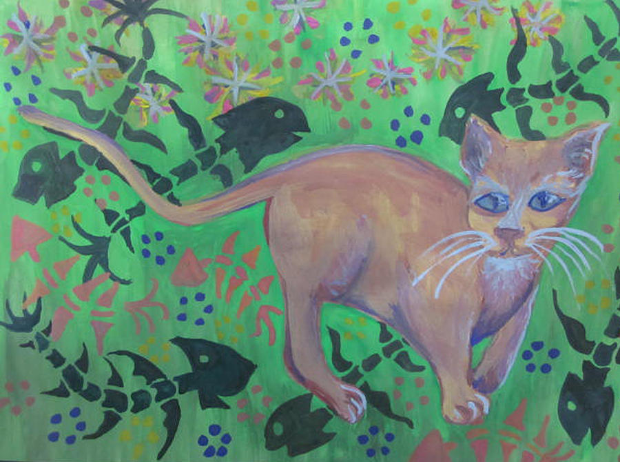 Orange Cat Painting - Hungry Cat by Cherie Sexsmith